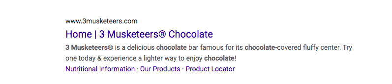 Hershey's Chocolate Bar SERP
